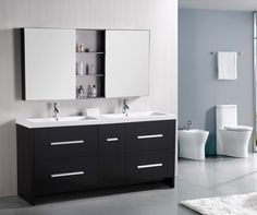 The Perfecta 72 inch double-sink vanity set lives up to its demanding name. With a cabinet that is fully constructed of solid hardwood, it is durable and substantial. The tailored edges of the integra
