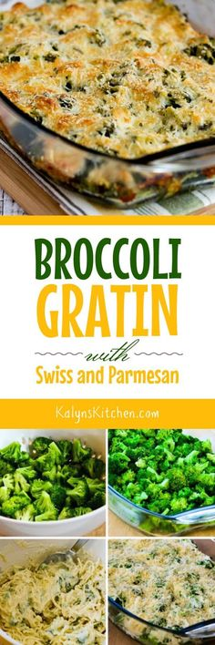 Broccoli Gratin with Swiss and Parmesan is a perfect low-carb and gluten-free side dish that's perfect for Thanksgiving or any special meal. [found on KalynsKitchen.com] #BroccoliRecipe #BroccoliGratin #BroccoliCheese #SideDish #Thanksgiving