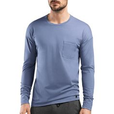 Hanro Paolo Long Sleeve Cotton Tee (6.345 RUB) via Polyvore featuring men's fashion, men's clothing, men's shirts, men's t-shirts, infinity blue, mens cotton t shirts, mens long sleeve cotton t shirts, mens longsleeve shirts, mens cotton shirts и mens crew neck t shirts