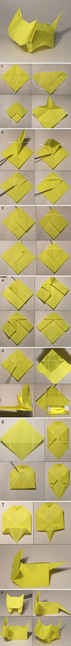 We've always wanted to build origami shapes, but it looked too hard to learn. Turns out we were wrong, we found these awesome origami tutorials that would allow any beginner to start building origami shapes. Source by Gato Origami, Origami Simple, Instruções Origami, Origami Shapes, Origami And Kirigami, Paper Crafts Origami, Oragami, Diy Paper, Origami Tattoo