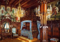 Bedroom at Neuschwanstein Castle in Bavaria, Germany. The palace was commissioned by Ludwig II of Bavaria as a retreat.