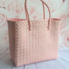 Pink Weave Shopper Beach Bag #fresh_pastel_weave_beach_bag_shopper_holiday_tote_shopping