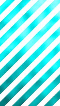 Teal Aqua Turqoise Blue Metallic Faux Foil Diagonal Stripes Back