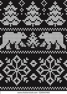 Fair Isle Knitting Patterns, Christmas Knitting Patterns, Knitting Charts, Knitting Designs, Knitting Socks, Crochet Chart, Knit Or Crochet, Crochet Patterns, Cross Stitch Embroidery