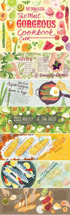 The Most Gorgeous Cookbook Ever. 30 Illustrated recipes printed with They Draw and Cook. Food illustration Ohn Mar Win