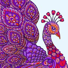 Peacock Painting, Peacock Art, Creation Coloring Pages, Peacock Embroidery Designs, Beauty Illustration, Coloring Books, Colouring, Cool Art Drawings, Mandala Design