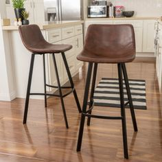 Noble House Dax 30 in. Brown and Black Bar Stool (Set of Brown Bar Stools, 30 Bar Stools, Kitchen Stools, Bar Chairs, Dining Chairs, Brown Leather Bar Stools, Room Chairs, Kitchen Dining, Rustic Bar Stools