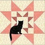 Rising Star quilt block with cat applique Freie PDF-Blöcke Katzenapplikationen käuflich zu erwerben