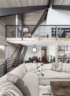 Wooden Home Decor Dated A-frame mountain cabin in Lake Tahoe get fabulous transformation Home Decor Dated A-frame mountain cabin in Lake Tahoe get fabulous transformation A Frame Cabin, A Frame House, Living Room Modern, Living Room Designs, Stairs In Living Room, Living Rooms, Mountain House Decor, Plan Chalet, Casa Loft