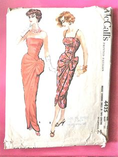 1950s Sarong Evening Gown One-Piece Dress McCall's by Fancywork