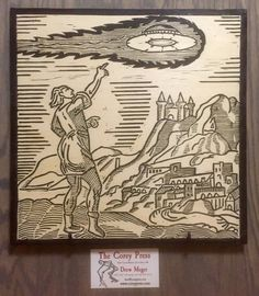 Ego Quid Videret - Blockprint on Wood - A Medieval UFO Sighting Aliens And Ufos, Ancient Aliens, Ancient Mysteries, Ancient Artifacts, Unidentified Flying Object, Alien Art, Bizarre, Ufo Sighting, Mystery