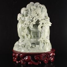 Chinese Natural Hetian Jade Statue - Teacher & Student