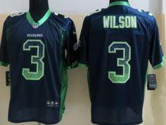 Nike Seattle Seahawks #3 Russell Wilson 2013 Drift Fashion Blue Elite Jersey