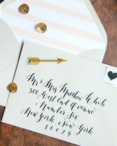 Oh So Beautiful Paper: Rachel + Peter's Gold Foil and Calligraphy Wedding Invitations
