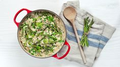 The creamiest risotto ever, using cream cheese.  Green peas and asparagus to make it more green.