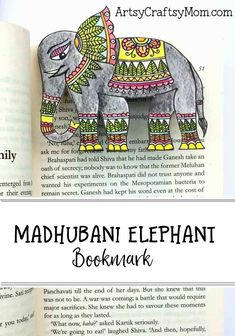 Easy Madhubani Elephant Bookmark Craft for Kids
