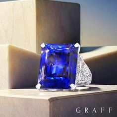 A striking 50 carat emerald cut sapphire ring, currently on display at the Doha Jewellery and Watches Exhibition. #djwe2018 #doha #graffdiamonds