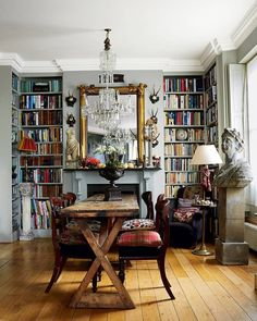 Home Library Decor, Home Libraries, Library Table, Library Design, Library Ideas, London House, Living Spaces, Living Room, Style At Home