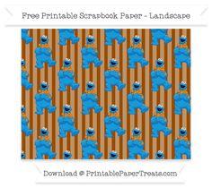 Free Landscape Brown Striped Large Crazy Cookie Monster Pattern Paper - Sesame Street