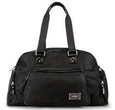 "OOYOO diaper bag ""Labor of Love"" black noir medium duffel - front view"