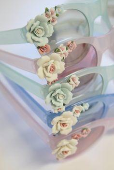 Pink Floral Embellished Sunglasses by BelleNotti on Etsy, $29.00