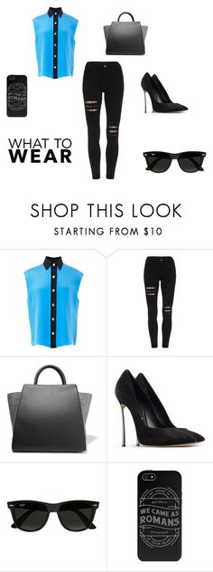 """""""Blue'n Black"""" by anastasiashoup on Polyvore featuring FAUSTO PUGLISI, ZAC Zac Posen, Casadei and Ray-Ban"""