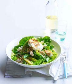 Australian Gourmet Traveller recipe for chicken, cos and soft egg salad with anchovy and crisp onion.