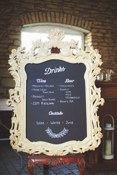 Cute drink menu frame white though