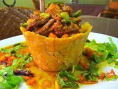 Mofongo relleno de camarones.  Puerto Rican food