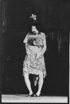 "Tatsumi Hijikata, Shizukana le, 1973. Photograph by Makoto Onozuka. ""I keep one of my sisters alive in my body when I am absorbed in creating a Butoh piece, she tears off the darkness in my body and eats more than is necessary of it...when she stands up in my body I sit down impulsively."""