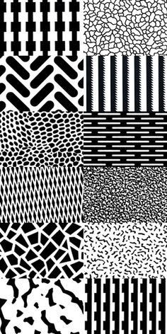Memphis Patterns. Above, left to right, top to bottom: Michele De Lucchi…