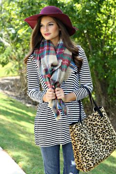 Classic Fall Outfit. Blanket scarf + striped tunic.