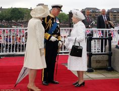 The Queen and The Duke of Edinburgh were met at Chelsea Harbour Pier by the Prince of Wales & the Duchess of Cornwall
