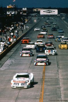 Track owner John Greenwood qualified his Chevrolet Corvette third for the 1975 12 Hours of Sebring, but was leading the field toward the first turn when the green flag fell. The car completed just 42 laps, though, and was classified 56th at the finish.