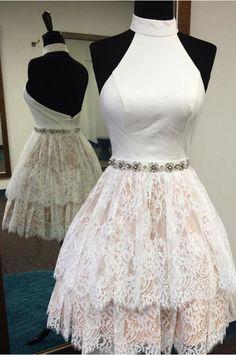 High Neck Short Dress, homecoming dress, https://www.luulla.com/store/okdressesy?p=44