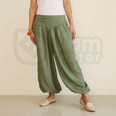 Aladdin Pants Baggy Pants Harem Pants Asparagus Green by ESCT, $24.00