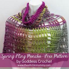 Spring Fling Poncho - Free Pattern by Goddess Crochet for The Stitchin' Mommy | www.thestitchinmommy.com
