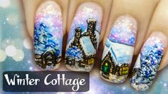 Winter Cottage ⎮ Freehand Nail Art Tutorial