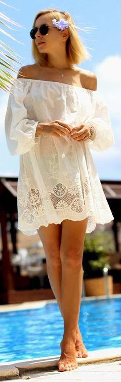 White Lace Detail Off Shoulder Mini Dress