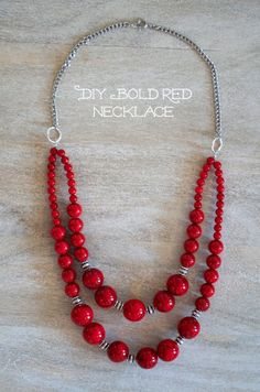 Don't you love a bold, bright statement necklace? Make it completely customized with DIY jewelry making! Shop our bead collection … Red Necklace, Evil Eye Necklace, Beaded Necklace, Necklace Ideas, Strand Necklace, Diy Schmuck, Schmuck Design, Homemade Jewelry, Diy Jewelry Making