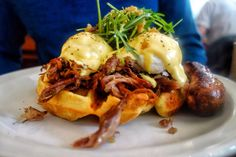 Pulled Pork Waffle Eggs Benedict from a cafe called Sunday, North London. They do delicious food and the portions are huge. Make sure to get there early, its very popular.