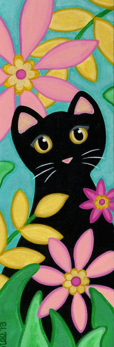 ORIGINAL Canvas CAT Folk Art PAINTING - Black Cat & Tropical Flowers