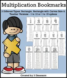 Multiplication Bookmarks with 3 versions to print - 3Dinosaurs.com