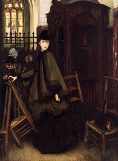 James Jacques Joseph Tissot (1836-1902)  In Church  Oil on canvas  c1865-c1869