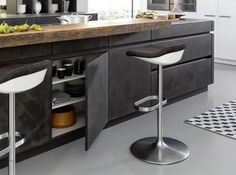 Get LEICHT's modern kitchen units with concrete surface and designer material with Concrete-A at Elan Kitchens, Leading London Kitchen Store in Fulham. Kitchen Cabinet Storage, Kitchen Cabinetry, Storage Cabinets, Best Kitchen Designs, Modern Kitchen Design, Black Kitchens, Cool Kitchens, Francis Mallman, Kitchen Interior