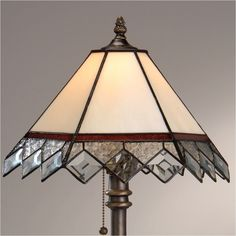 J Devlin Table Lamp 311, Victorian Burgundy Tiffany-style Stained Glass Table Lamp