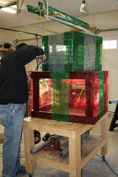 How to make outdoor lighted gift boxes