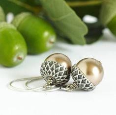 Acorn Earrings Silver and Golden Champagne by JacarandaDesigns, $20.00