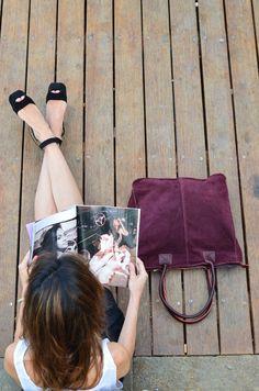 Boboli Tote Bag in burgundy suede  www.bidinis.com