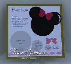 Template para clase de punch art de Minnie Mouse.  www.coqueteriasmanuales.com